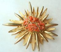 Vintage Large Faux Coral Sunburst Brooch By Exquisite.
